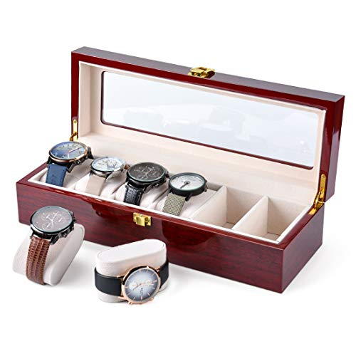Karamanda 6 Wide Slots Wooden Paint Watch Box, Cherry-red Watch Storage Organizer with Glass Top and Locking Clasp for Women Men