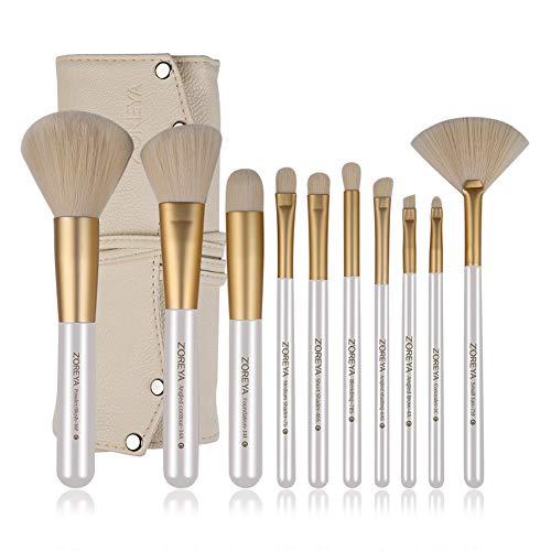 ZOREYA Makeup Brushes 10pc Gold- Premium Quality Non Animal Cruelty Cosmetic Makeup Brush Set with Vegan Leather Make up Organizer Storage Brush Holder Case
