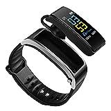 ZEIYUQI Drahtlose Bluetooth Kopfhörer Smartwatch,Health Tracker Schrittzähler,Fitness Armband,Smart Armband,Bluetooth Headset,Silver