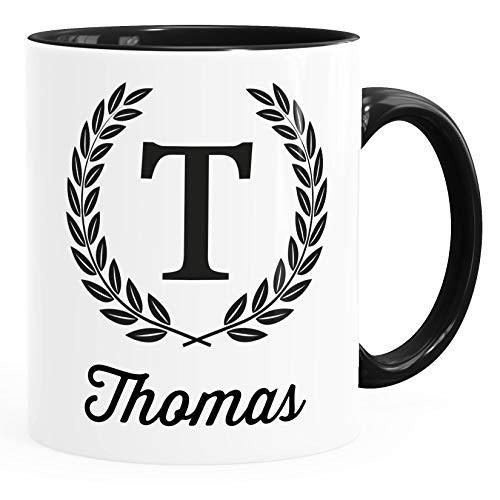 SpecialMe® Namenstasse personalisierte Kaffee-Tasse mit Namen Buchstabe persönliche Geschenke für Männer Bürotasse Inner-Schwarz Keramik-Tasse