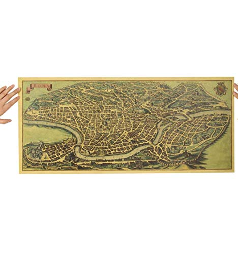 Antiker alter Stadtplan Antiker Rom Poster Kraftpapier Home Decor Wandaufkleber 72X32Cm