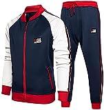 WINKEEY traje de jogging para hombre traje deportivo traje de ocio chándal traje de ocio sudadera con capucha + pantalones deportivos sudadera con capucha + pantalones de chándal, Azul L