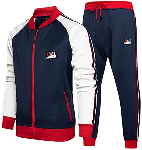 WINKEEY traje de jogging para hombre traje deportivo traje de ocio chándal traje de ocio sudadera con capucha + pantalones deportivos sudadera con capucha + pantalones de chándal, Azul XL