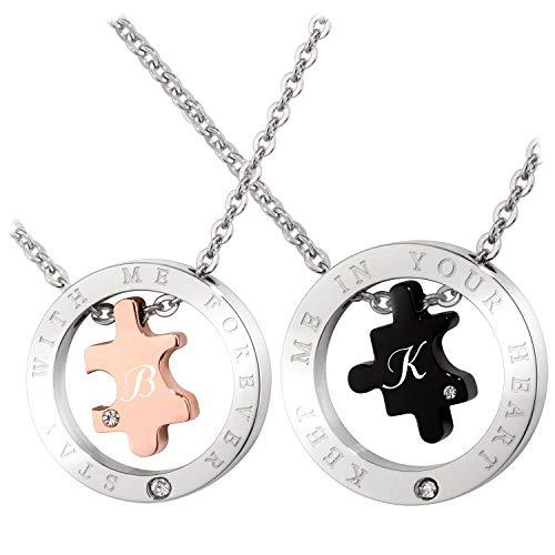 Schmuck-Pur Partner-Ketten mit persönlicher Laser-Gravur Puzzle Partnerschmuck Edelstahl 2 Halsketten 45/50 cm