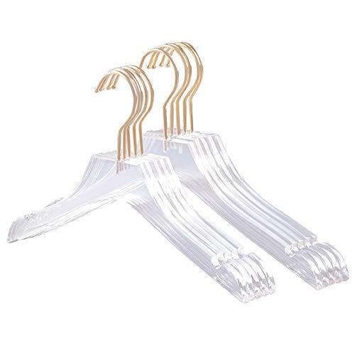 Fransande - 5 ganci per abiti in acrilico trasparente con gancio in oro, cartelline trasparenti, con tasche per signora bambino, L