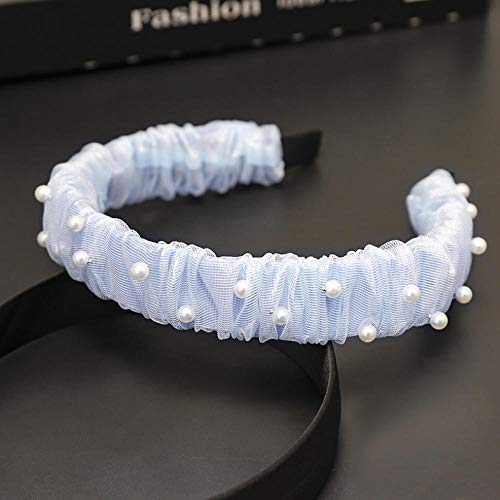 Empty Summer Cute Retro Pearl Mesh Headband Women Bowknot Headband Lovely Wide Headband Hair Accessories-Blue
