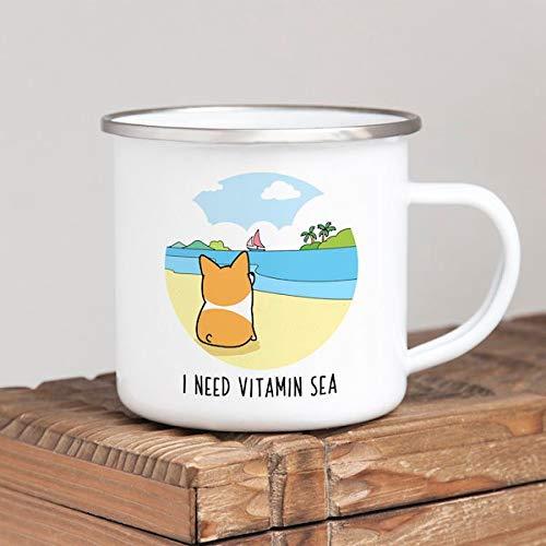 Ad4ssdu4 Ich Brauche Vitamine Zee Camp Mug Hond Corgi emaille Camping mok gepersonaliseerd citaat metaal koffiebeker rustiek decor strand house decor camper geschenk