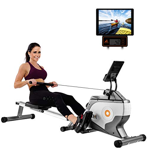 Merax BTM Rowing Machine Magnetic Rowing Machine Folding Rowing Machine with Magnetic Clamping System, LED Monitor,with Adjustable Resistance,24-Month Warranty