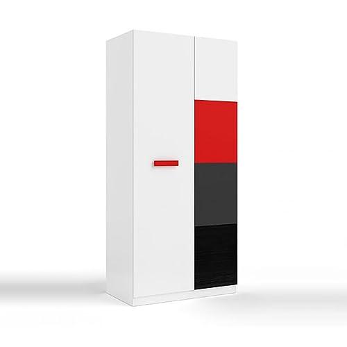 Habitdesign 0R7441BO - Armario juvenil dos puertas, color Blanco, Rojo, Gris y Negro