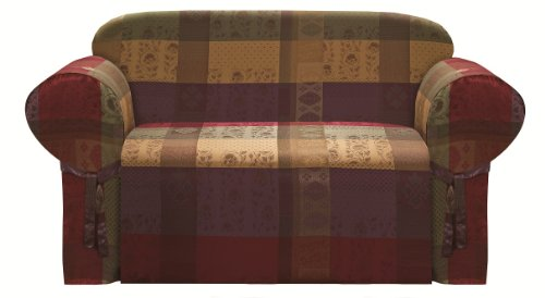 Chezmoi Collection Gitano Bezug für Zweisitzer, Burgunderrot, Lila, Grün, Gold, strapazierfähig, Jacquard