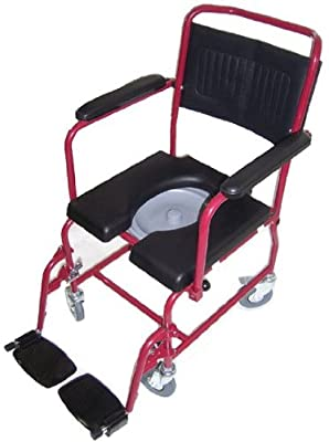 MedMobile® 2-in-1 Commode/Shower Wheelchair with Drop-Down Armrests, Locking Rear Castors, Detachable Footrests and PU Commode Seat