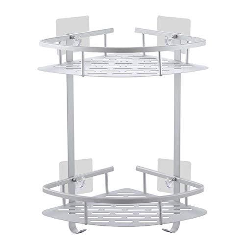 Laimew Estantes para esquinas de baño No Drill, estante de ducha de aluminio adhesivo anticorrosivo con ganchos para colgar (2 gradas)