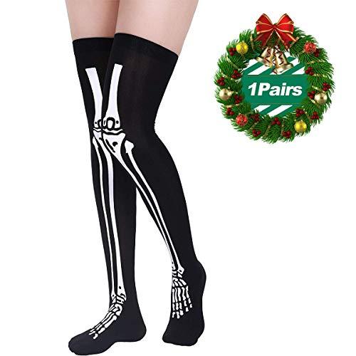 Stockings High Socks for Halloween Cosplay Costume, Bloody Horror Zombie Thigh High Socks Black Skeleton,1 Pairs