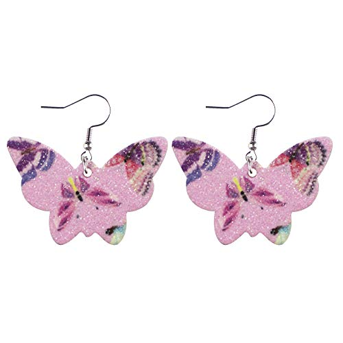 MORCHAN PU Leather Earrings with Sequins Butterfly Shape Earrings, Holiday Accessories (No Position Printing) A