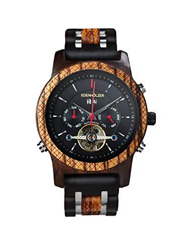 Edenhölzer Holzuhr Herren Armbanduhr Automatik Montserrat Holzarmband Datumsanzeige