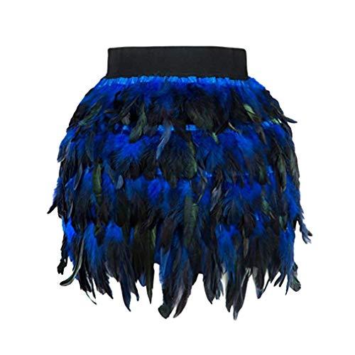 Yying Cisne Negro Falda de Plumas Mini Longitud Totalmente Doble Capa Tela Forrada Falda de Plumas para Evento de Fiesta Plumage Plume Falda Azul M