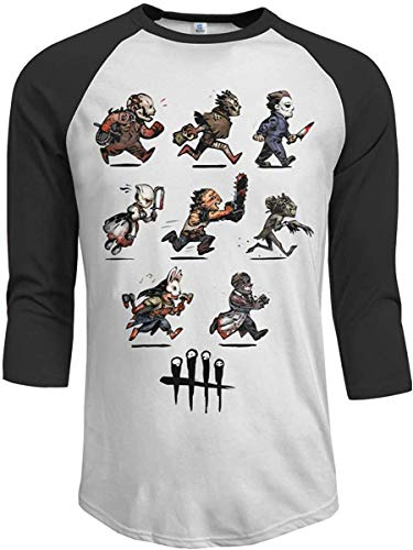 Dead by Daylight Men's 3/4 Sleeve Tee Printed Casual Raglan Sleeves Baseball T-Shirts,Black,Small