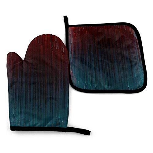 Tie-Dye Splashing Ink Pintura abstracta Juego de manoplas y soportes para ollas resistentes al calor para horno, forro de algodón suave con superficie antideslizante para cocinar con seguridad en la b