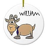 WSMBDXHJ Lustige Weihnachtsdekoration, Ziege mit Krawatte, Named William Weihnachtsbaum, hängende Dekoration, Andenken, Ornamente, 7,6 cm, Kreis