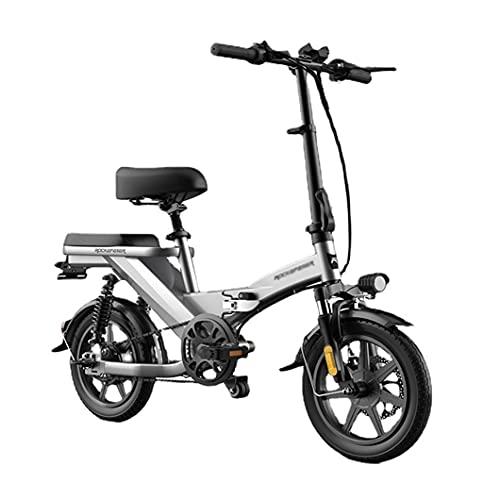 ZXQZ Doble Bicicleta Eléctrica para Adultos, Bicicleta Eléctrica de Viaje Diario de 14 '' con Absorción de Impactos Cuádruple, 3 Modos De Conducción (Color : Grey, Size : 50km)