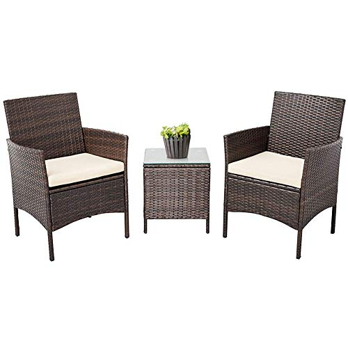 Crownland Patio Furniture 3 Piece Outdoor Bistro Table Set Wicker Chair for Backyard Porch Lawn Garden Balcony with Cushions and Glass Coffee Table All-Weather Patio Chairs(Brown/Beige)