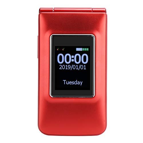 Teléfono celular GSM desbloqueado Teléfono con tapa de pantalla dual de 2.6 pulgadas - 32 + 32MB Teléfono celular de botón grande con doble SIM de doble modo de espera para personas mayores(rojo)