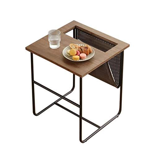 Jcnfa-Tische Modernes kreatives Sofa-Beistelltisch, Magazin-Speicher-Rack, Hohlmetall-Speicherregal (Color : Walnut, Size : 16.53 * 16.53 * 19.68in)