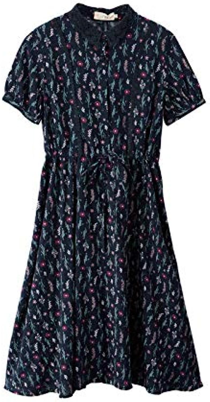 Woman Dress Summer Literary Fresh Retro Hollow Lapels Waist Short Sleeve A Word Floral Dress Female