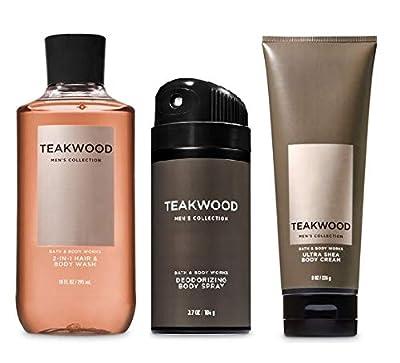 Bath And Body Works, Gift Set Teakwood For Men ~ Body Wash ~ Body Cream And Deodorizing Body Spray- Full Size