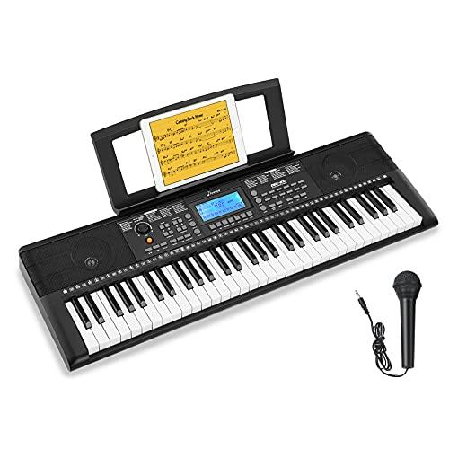 Donner 61 Tasten Tastatur Klavier, Electronic Keyboard Digital Piano mit Notenblattständer und Mikrofon, DEK-610