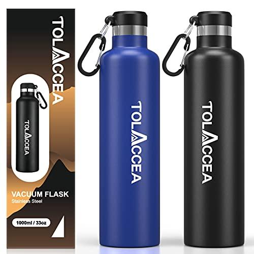 Tolaccea Botella de Agua de Acero aislada al vacío Botella de Agua Deportiva de Doble Pared Botella de Agua de Boca Ancha de 33 oz Frasco térmico de Viaje Sin BPA Azul