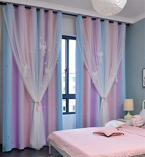 Yancorp Curtains for Girls Bedroom Kids Curtain Baby Nursery Hollow-Out Star Window Curtain 72 inches Length Room Darkening Grommet 2 Layers (Pink Purple Green, W52 X L72)