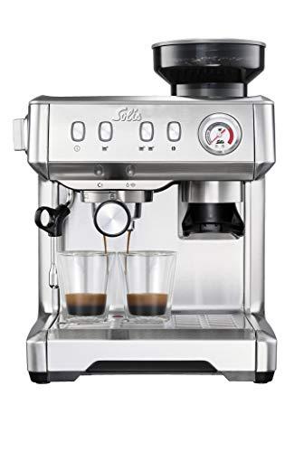 Solis Grind & Infuse Compact 1018 - Maquina de café espresso semiautomática - Cafetera con Molinillo incorporado de café y cafetera espumador de leche - Cafetera acero inoxidable