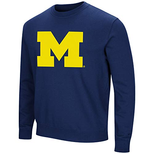 Colosseum NCAA Herren Playbook Fleece-Sweatshirt, Rundhalsausschnitt, Tackle Twill-Stickerei, Teamfarben, Herren, Michigan Wolverines-navy, Large