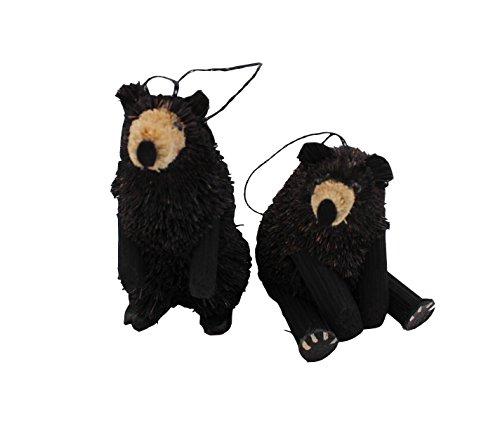 Kurt Adler 2 Assorted 4-Inch Buri Black Bear Ornaments