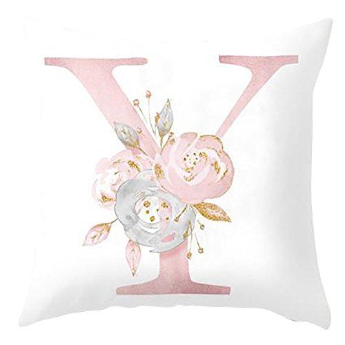 H87yC4ra Cubiertas del Cojín del Alfabeto, Funda De Almohada Decorativa para El Dormitorio del Sofá De La Sala De Estar Y