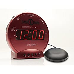 Sonic Bomb Dual Extra Loud Alarm Clock with Bed Shaker, Vibrating Alarm for Heavy Sleepers, Full Range Dimmer, Battery Backup – Red