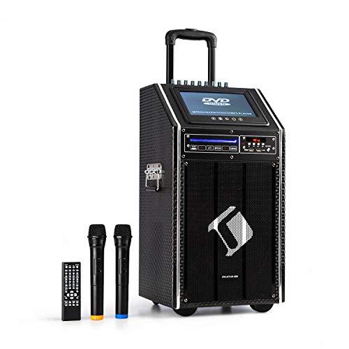 auna Pro DisGo Box 100 DVD - Equipo de PA portátil, 300 W máx., Pantalla TFT de 9', DVD, Bluetooth, Asa de Carrito Extensible, 2 micrófonos UHF, Antracita