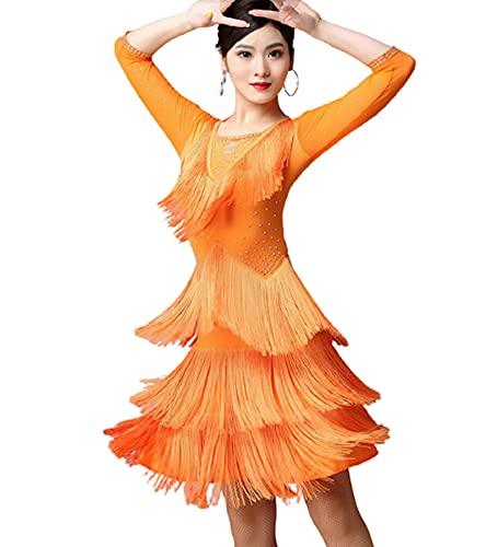 Falda de Baile Latino para Mujer 2021 Vestido de Baile Latino sin Mangas con Flecos de Diamantes de imitacin para Adultos, Competencia Profesional, prctica, Ropa, Vestido con Flecos,Naranja,L