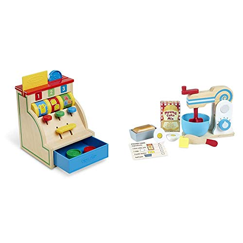 Melissa & Doug Spin & Swipe Wooden Cash Register (Developmental Toy, Great Gift for Girls and Boys - Best for 3, 4, 5, and 6 Year Olds) Bundle Make-A-Cake Mixer Set