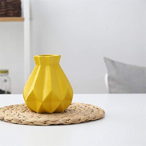 Amn Jarrón de Porcelana Florero de cerámica Sala de Estudio Pasillo de Estudio Decoración de la Boda en el hogar Drop Ship, pequeño Amarillo