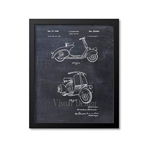Vespa Scooter Patent Print Scooter Wall Art Scooter Print Vespa Scooter Art Print Vespa Decor