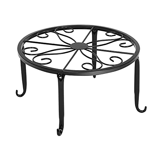 GJCrafts Potted Plant Stand, 3Pack Heavy Duty Plant Caddy Metal Flowerpot Holder, 9.5 inch Rustproof Iron Planter Container Support Indoor Outdoor Home Garden - Black