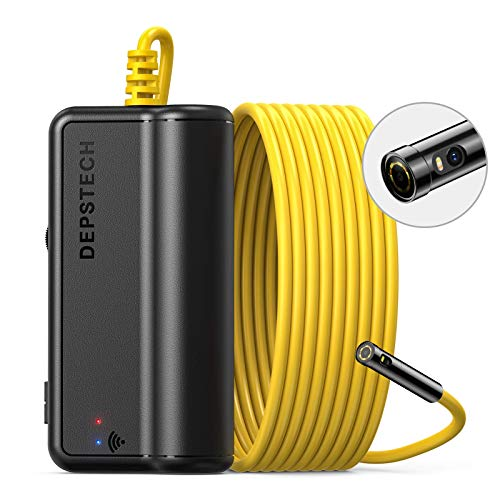 DEPSTECH Dual Lens Wireless Endoscope Camera, 1080P Dual Borescope with 7 LED Lights, 0.31In Lens Video Inspection Camera, Zoom Waterproof Semi-Rigid Cable for Android & iOS Smartphone Tablet-16.4Ft