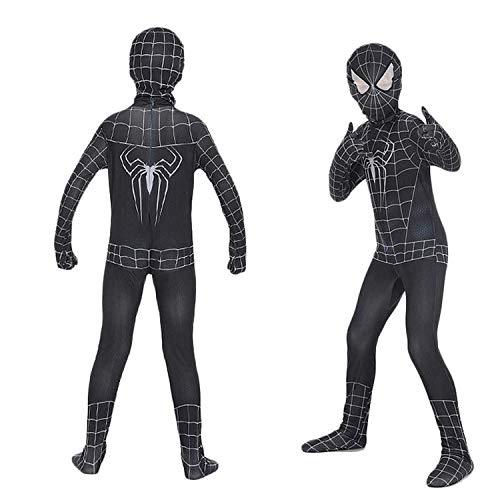 Gerzely Costumi Bambini Supereroe Spider-Man di Halloween, Nero Eccezionale Tutto Compreso La Tuta Abbigliamento Veleno di Ragno di Cosplay Prop Camici dei Ragazzi Suits,L/120