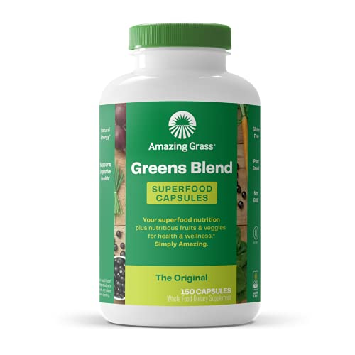 Amazing Grass Greens Blend Superfood Capsules: Super Greens with Spirulina, Chlorella, Beet Root Powder, Digestive Enzymes & Probiotics, 150 Capsules (Packaging May Vary)