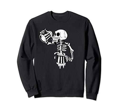 Schädel trinkt viel endloses Bier lustiges Skelett Sweatshirt