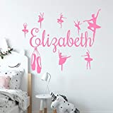 Customized Girl's Name Vinyl Applique Ballerina Pink Decorative Wall Sticker Silhouette Mural 80x57cm