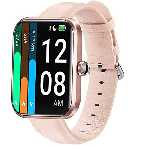 LvBu Armband Kompatibel mit ID206, Quick Release Leder Classic Ersatz Uhrenarmband für für LETSCOM ID206 / YAMAY ID206 Smartwatch (Rosa)