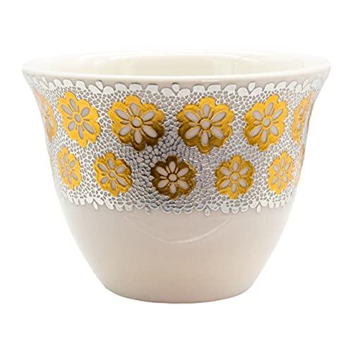 Alibabashop Baba Gourmet - Arabische Mokkatassen mit goldenen Blüten - Mokkatasse orientalisches Design 40 ml 6er Set